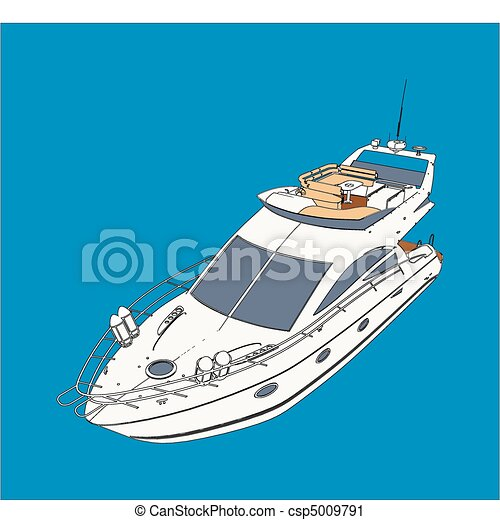 Yacht Boat Drawing Look Like Paint - csp5009791