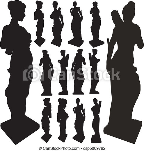Ancient Statue Of Woman Silhouettes - csp5009792