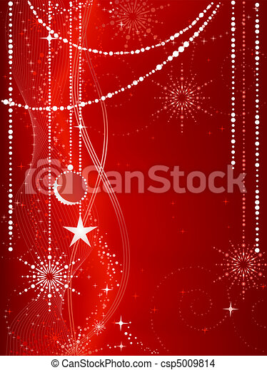 Festive red Christmas background with stars, snow flakes, baubles and grunge elements.  - csp5009814