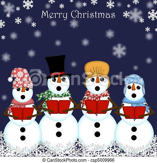 Stock Illustration of Christmas Snowman Carolers Singing Blue ...