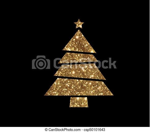 gouden, plat, boompje, vector, schitteren, kerstmis, pictogram - csp50101643