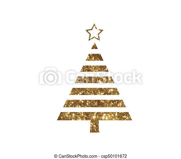 gouden, plat, boompje, vector, schitteren, kerstmis, pictogram - csp50101672
