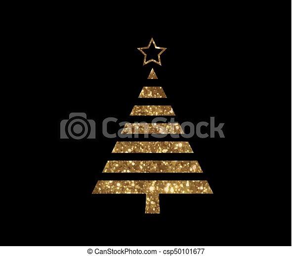gouden, plat, boompje, vector, schitteren, kerstmis, pictogram - csp50101677
