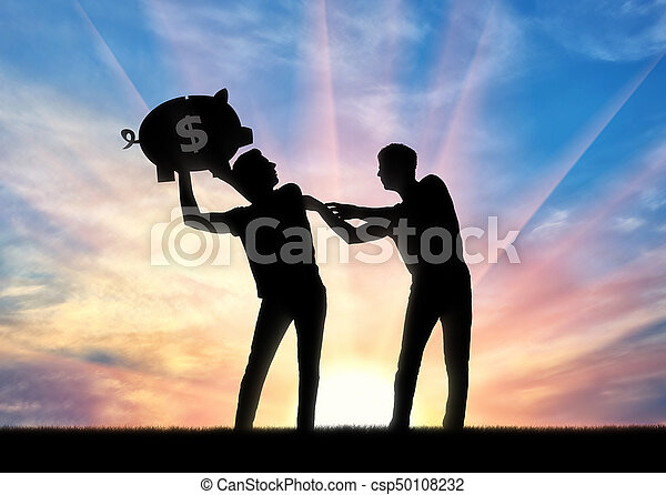 Silhouette of a man trying to take from another man a piggy bank - csp50108232