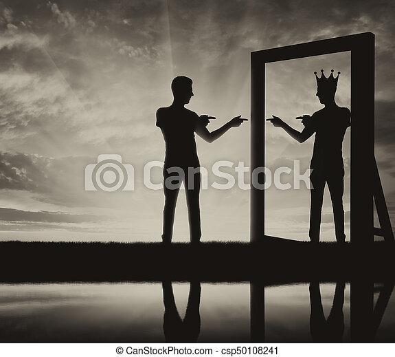 Concept of a narcissistic and egoistic man - csp50108241
