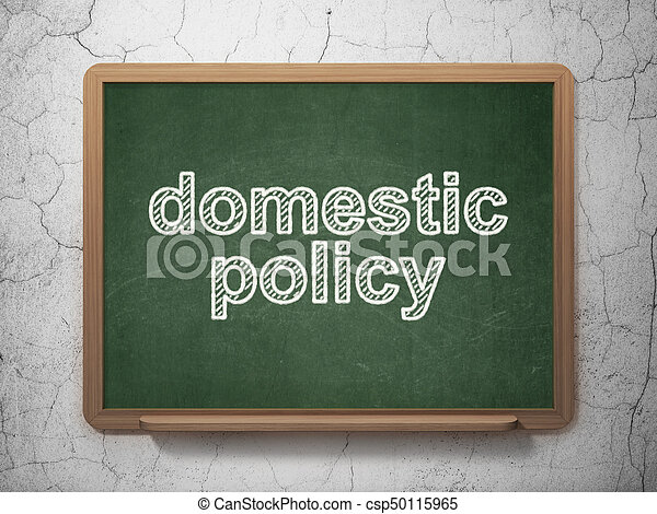 Politics concept: text Domestic Policy on Green chalkboard on grunge wall background, 3D rendering