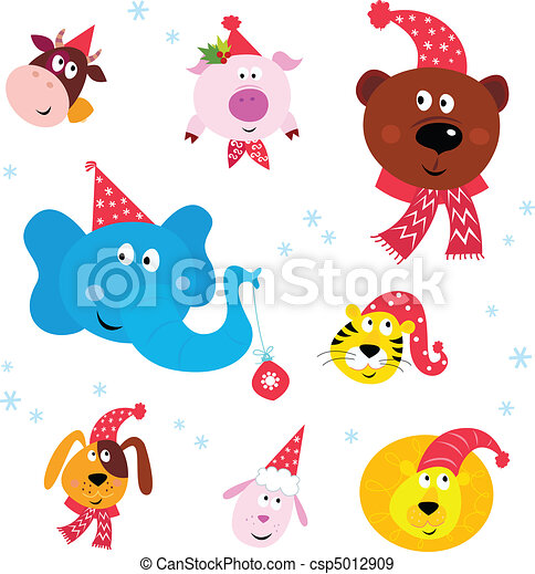 Christmas Party Animals with hats - csp5012909