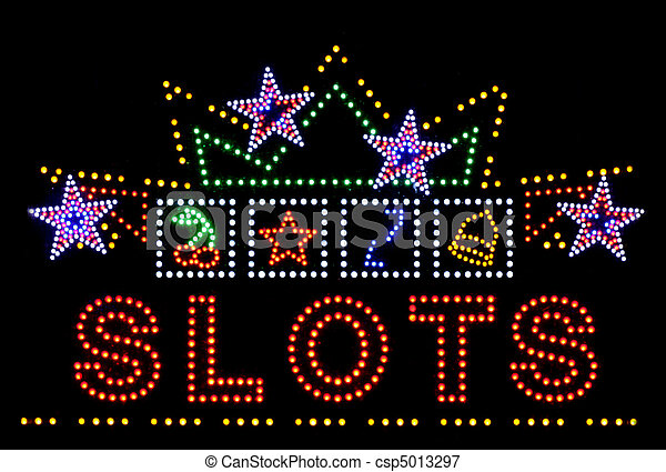 slots gambling neon sign - csp5013297