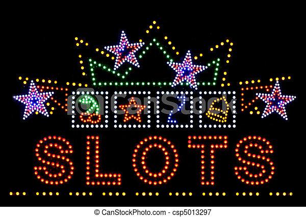 slots gambling neon sign - csp5013297