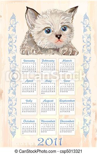 hand drawn calendar 2011 with fluffy kitten - csp5013321