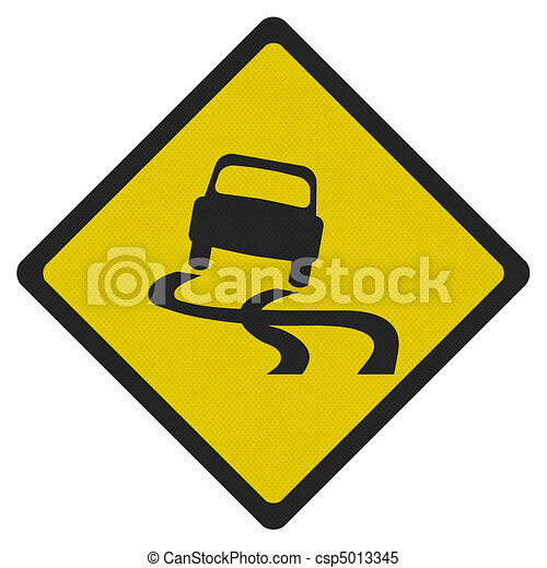 Stock Illustrations of Photo realistic 'slippery road' sign ...