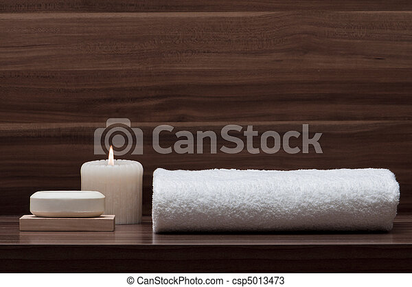 arrangement of soap, towel and candle - csp5013473