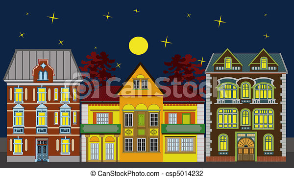 Three residential houses at night - csp5014232