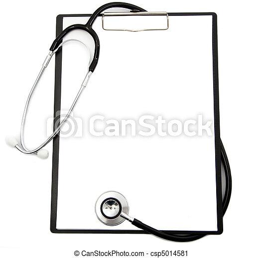 médico, área de transferência, Estetoscópio, em branco - csp5014581