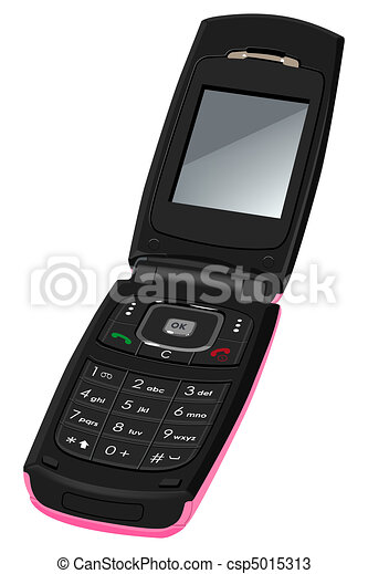 Women's cell phone. Isolated on whi - csp5015313