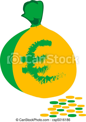 bag with euro money on pile of gold - csp5016186