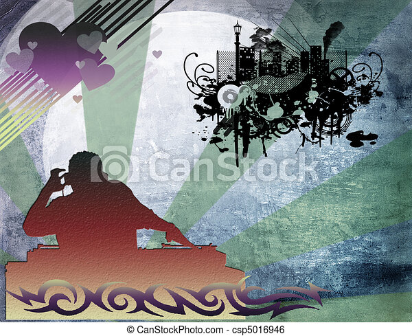 dj man playing tunes with music  - csp5016946