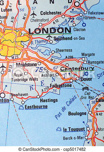 London, United Kingdom as a travel destination on a map - csp5017482