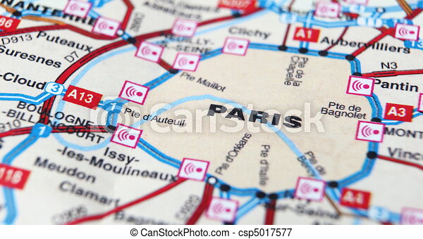 Paris as a travel destination on a map - csp5017577
