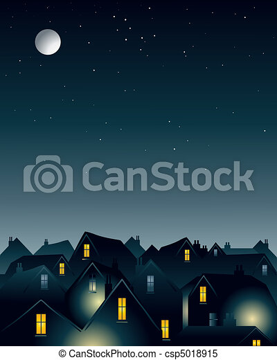 moonlight over rooftops - csp5018915