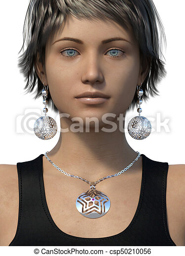 Earrings and necklace on a woman - csp50210056