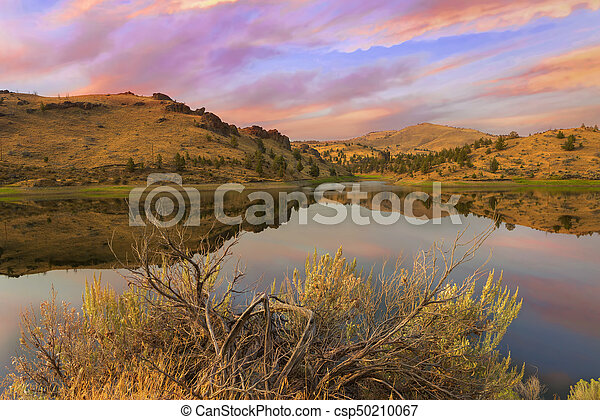 Reflection of Scenic High Desert Landscape in Central Oregon - csp50210067