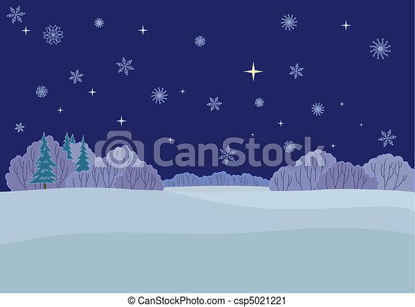 Vector Clip Art of Central Russian landscape, winter night(117 ...