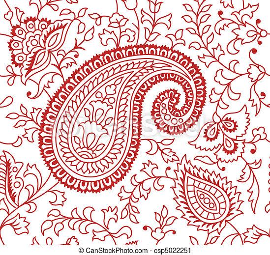 Indian Textile Pattern  - csp5022251
