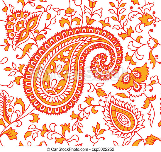 Indian Textile Pattern  - csp5022252