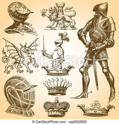 Vector Clipart of Heraldry Art - Heraldry Vector Set. Colors are ...