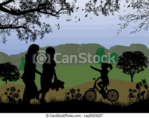 children playing on beautiful landscape - csp5023227
