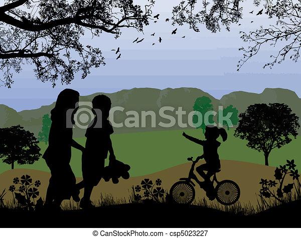 children playing on beautiful landscape - csp5023227