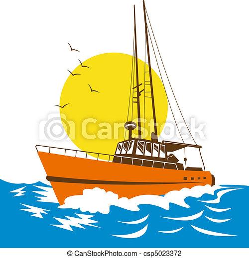 Clip Art of fishing boat on the ocean - Illustration of ...