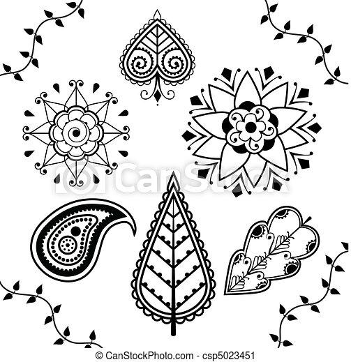 Clip Arte Vetorial De Indianas Desenho Henna Elementos  Pretas E Branca