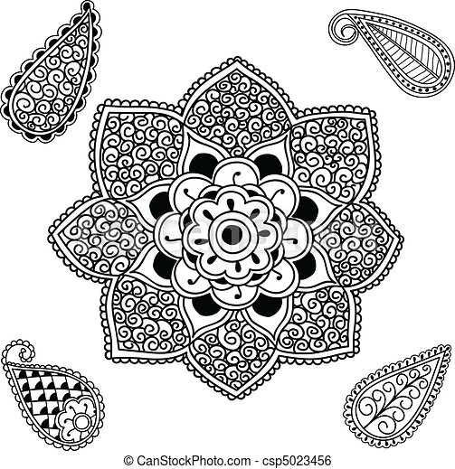 Fleur Mandala Paisley 5023456 on english garden border design html