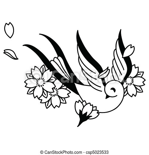 Songbird and Cherry Blossoms - csp5023533