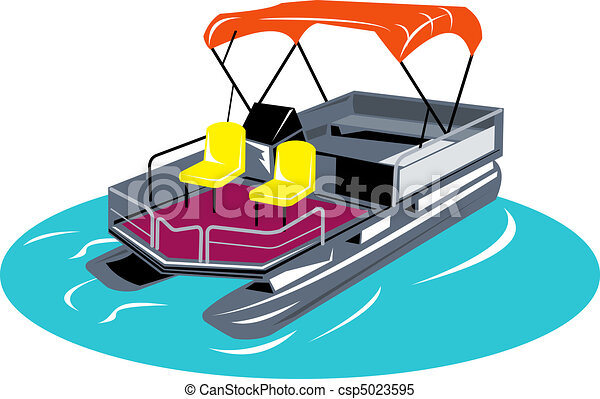 Illustrations of pontoon boat rear view - Illustration of pontoon boat ...