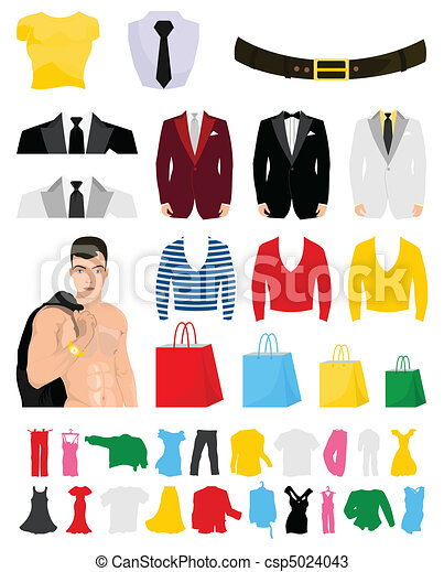 Collection of fashionable clothes for design. A vector illustration - csp5024043
