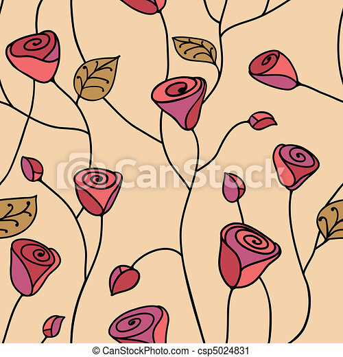 Rose seamless pattern pink - csp5024831