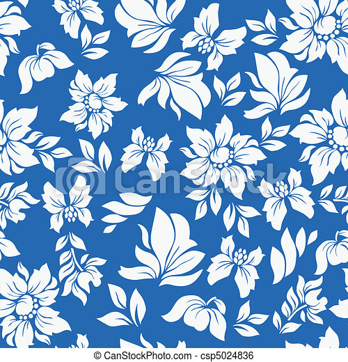 Aloha Flower Pattern Blue - csp5024836