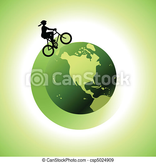 Woman Biking Around The World 2 - csp5024909