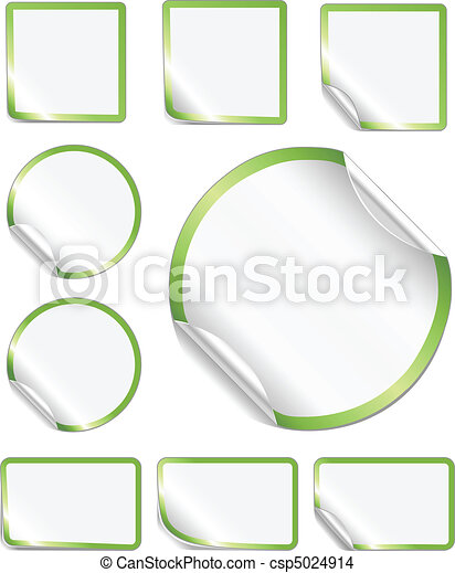 Peeling Stickers Green Border - csp5024914