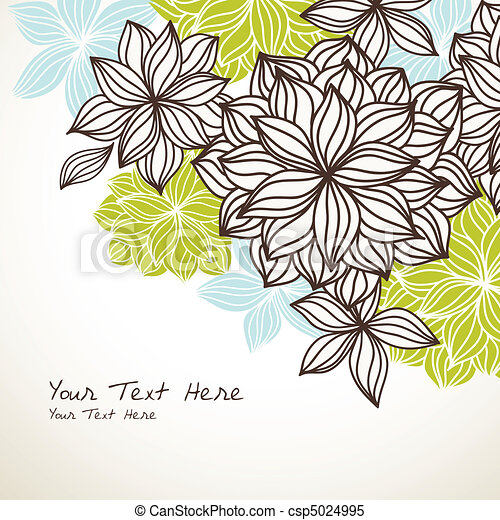 Floral Background Corner Green Blue - csp5024995