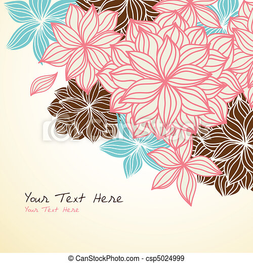 Floral Background Corner Blue Pink - csp5024999