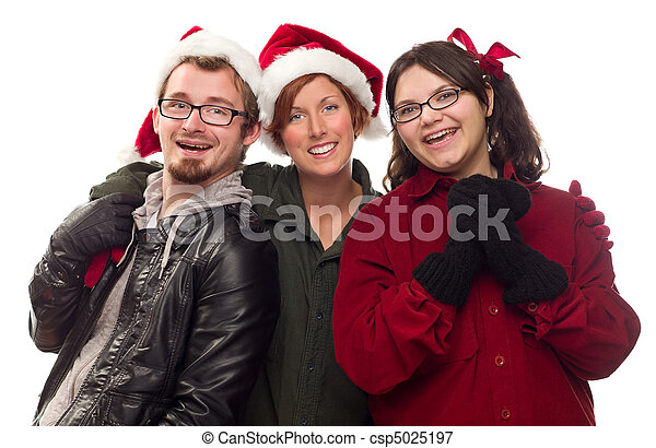 Three Friends Wearing Warm Holiday Attire - csp5025197
