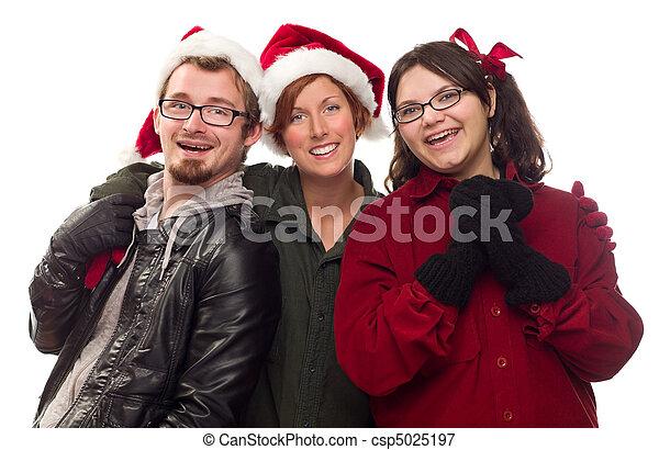 Three Friends Wearing Warm Holiday Attire - csp5025197