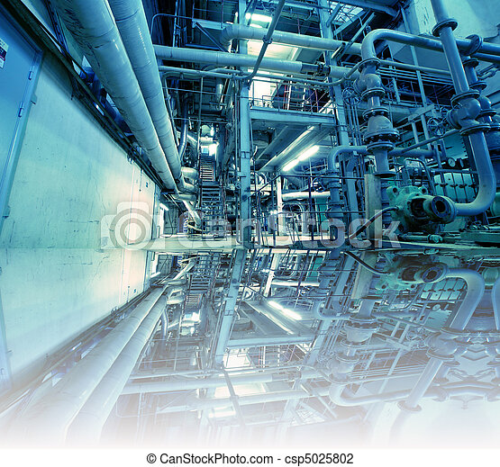 Equipment, cables and piping as found inside of a modern industrial power plant  - csp5025802