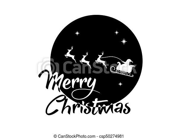claus, woord, kerstman, poster, maan, rendier, zalige kerst - csp50274981