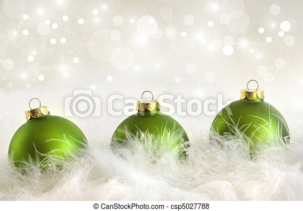 Green christmas balls with holiday background - csp5027788
