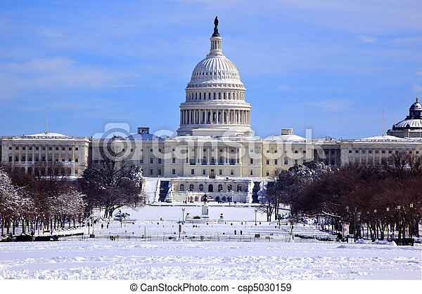 US Capitol Dome Houses of Congress After Snow Washington DC - csp5030159